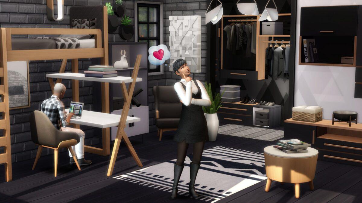 Sims 4 Traumhaftes Innendesign Designerin in moderner Umgebung denkt über Veränderungen nach
