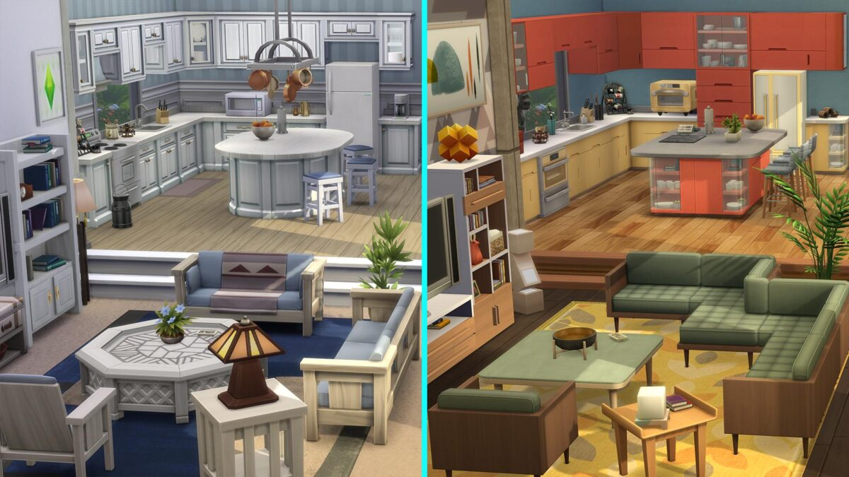 Sims 4 Traumhaftes Innendesign Küche-Esszimmerkombination mit Vorher- Nachher-Effekt