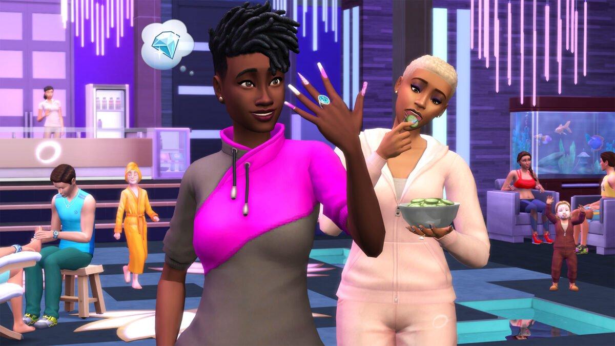 Sims 4 Wellness-Tag Guide Simfrau zeigt lange Fingernägel, andere Simfrau isst Gurkenscheiben