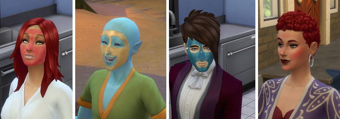 Sims 4 Wellness-Tag Guide Drei Sims mit unterschiedlichen Gesichtsmasken, ein Sim mit Gesichtsrötung