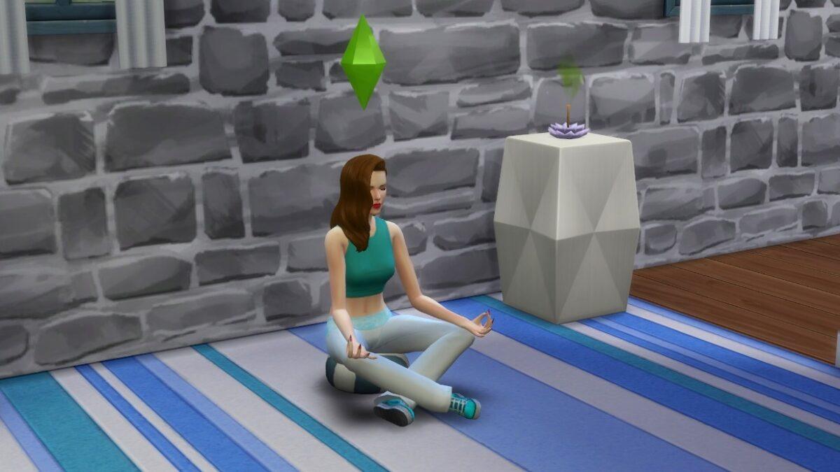 Sims 4 Wellness-Tag Guide Sim-Frau meditiert auf Kissen mit Räucherstäbchen daneben