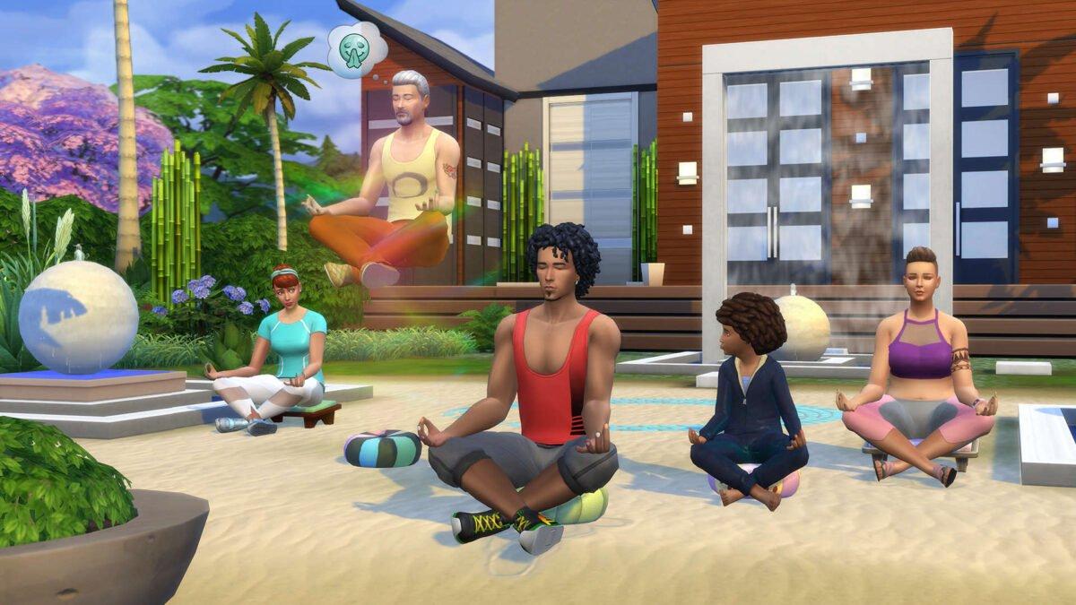 Sims 4 Wellness-Tag Guide Sims-Meditationsgruppe im Lotussitz, ein Sim schwebt beim Meditieren