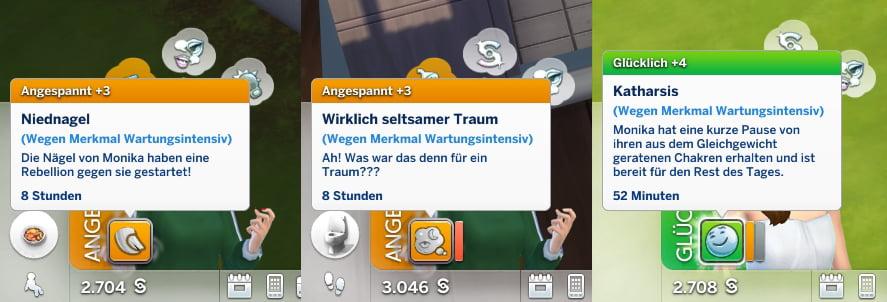 Sims 4 Wellness-Tag Guide Verschiedene Unwohl- und Glücklich-Moodlets