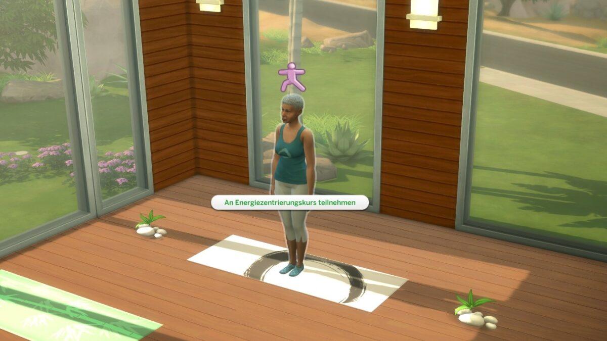 Sims 4 Wellness-Tag Guide Yoga-Lehrerin steht in Yoga-Raum auf ihrer Matte