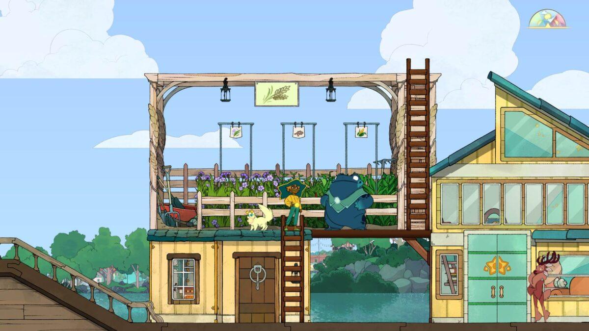 Spiritfarer Review Stella und Atul vor einer Gartenbox auf dem Schiff