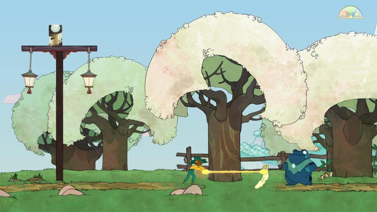 Spiritfarer Review Stella und Katze Daffodil sägen gemeinsam Baumstamm