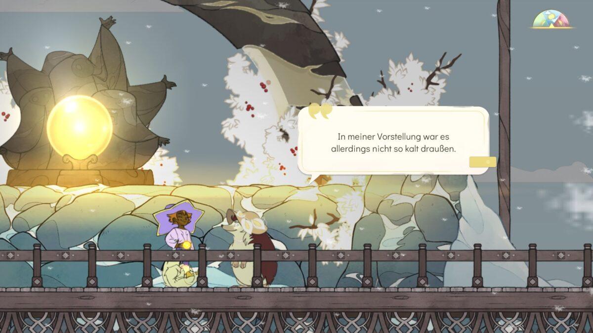 Spiritfarer Review Stella und Alice stehen in verschneiter Umgebung vor Schrein