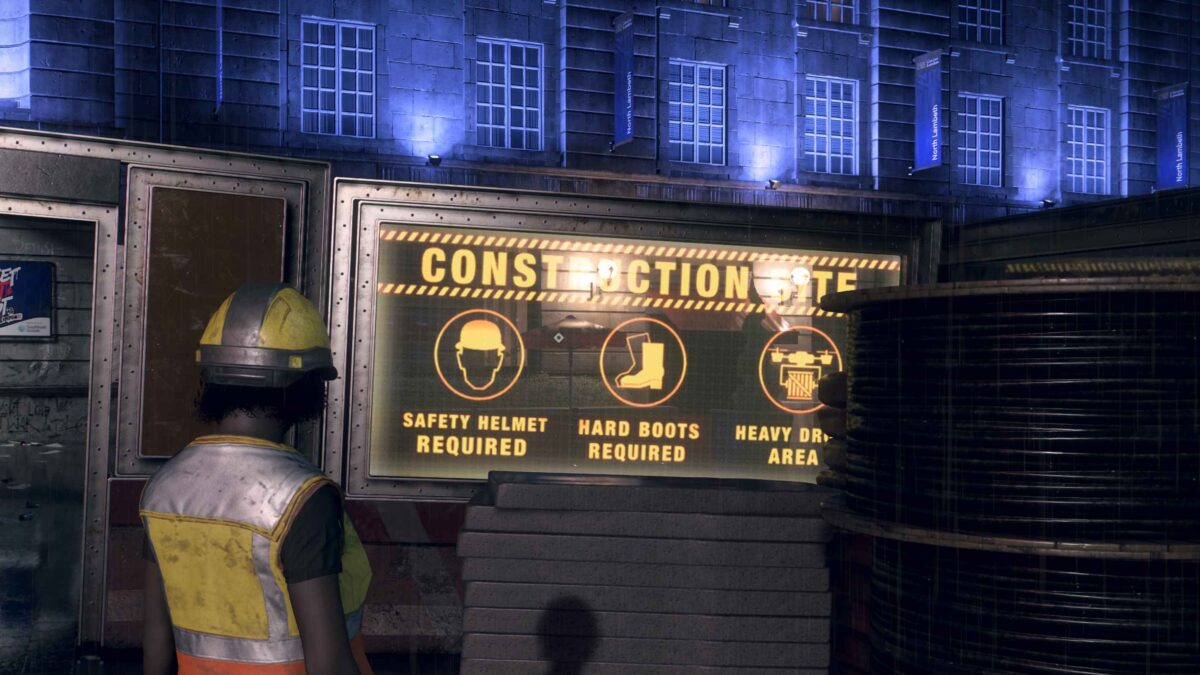 Watch Dogs Legion Construction worker stands in front of warning sign at construction site entrance
