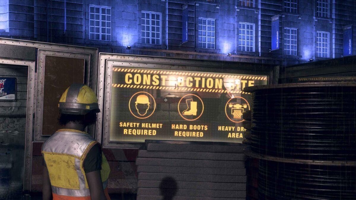 Watch Dogs Legion Bauarbeiterin steht vor Warnschild bei Baustelleneingang