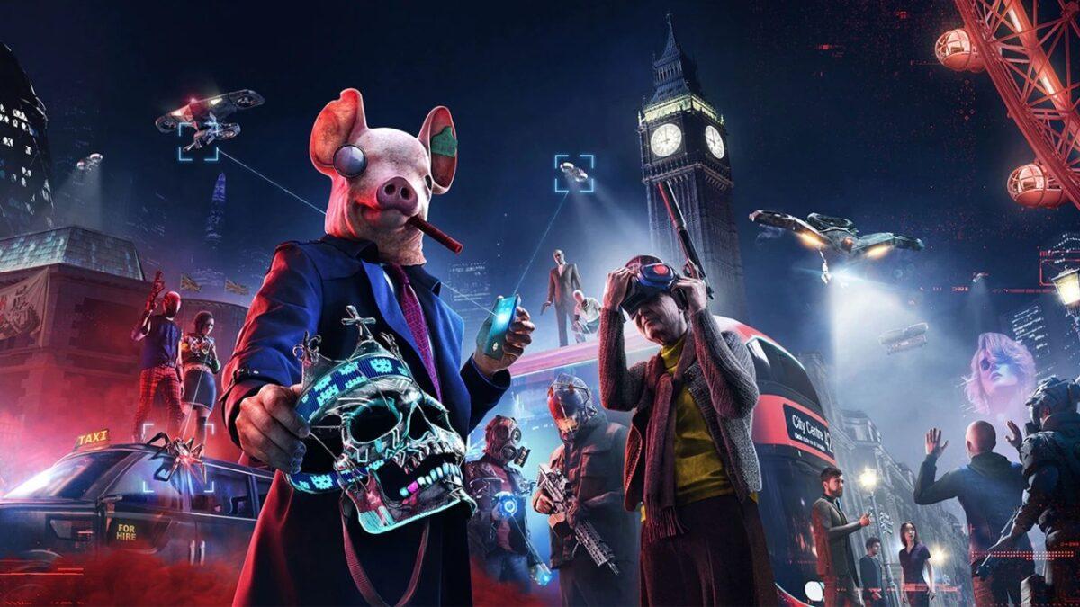 Watch Dogs Legion Blick auf Zukunfts-London, Person mit Schweinemaske im Vordergrund