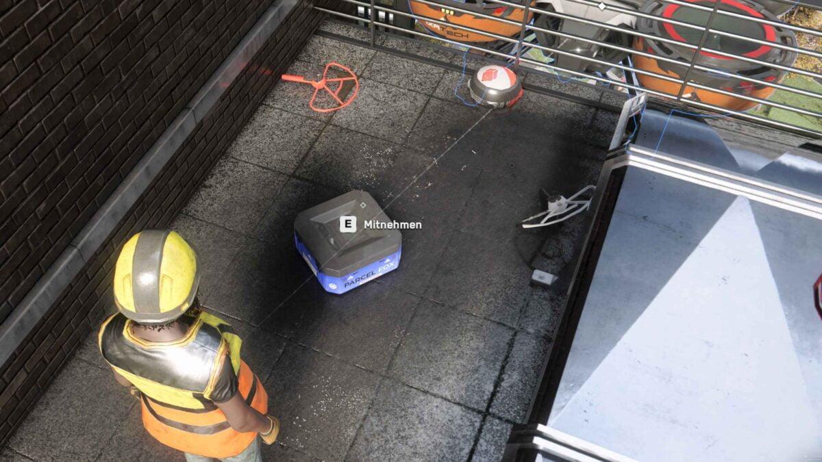 Watch Dogs Legion Agentin sammelt blaue Maskenkiste auf Balkon ein