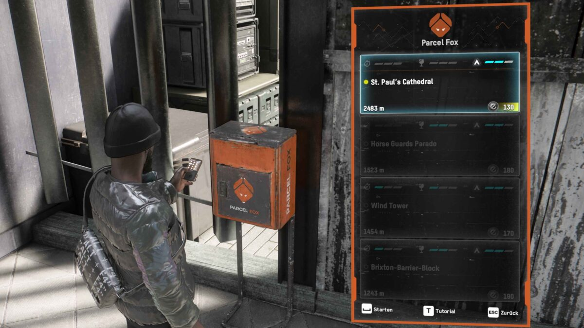 Watch Dogs Legion Operative examines existing Parcel Fox delivery orders in the delivery menu
