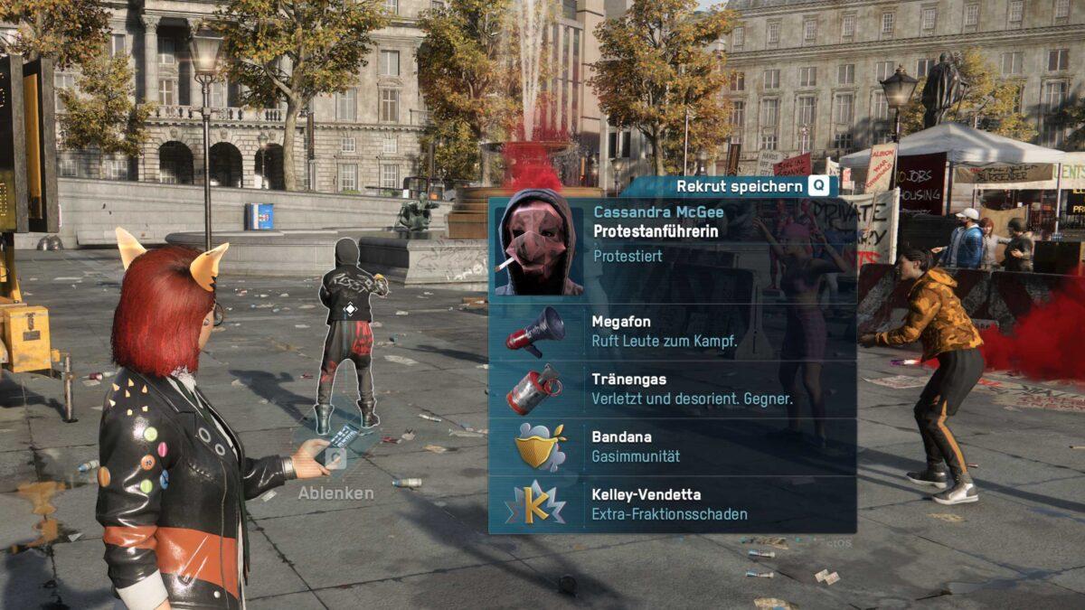 Watch Dogs Legion Hackerin öffnet das Profil einer Protestanführerin am Trafalgar Square