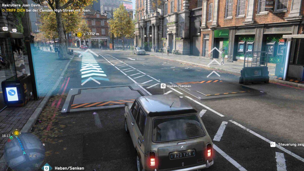 Watch Dogs Legion Agent in Auto erreicht Albion-Straßenkontrollposten
