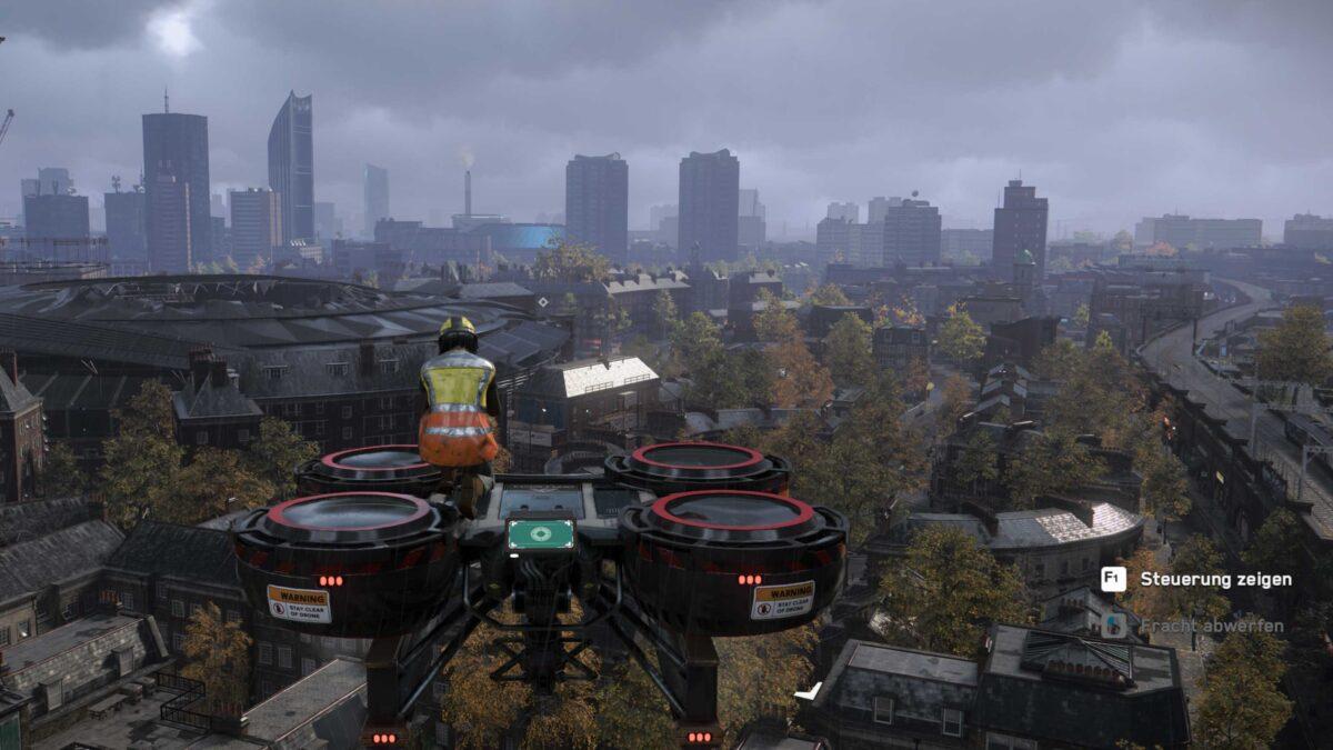 Watch Dogs Legion Bauarbeiterin auf Frachtdrohne fliegt hoch über London