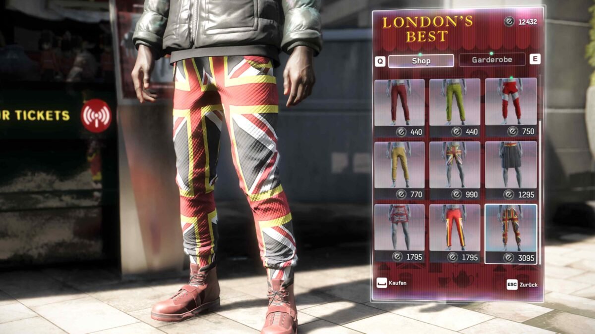 Watch Dogs Legion Store selection of pants in the overview menu