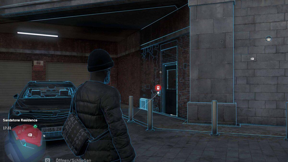 Watch Dogs Legion Agent scannt Gebäude, um hackbare Objekte zu finden