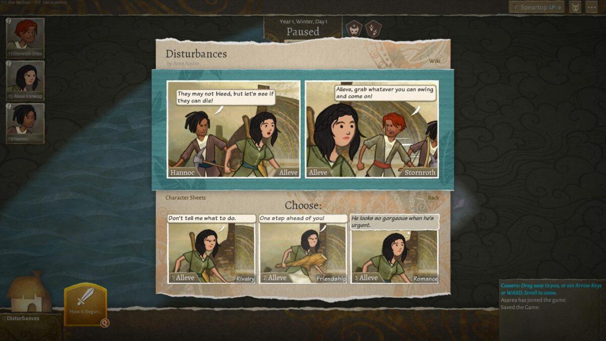Wildermyth Review Test Auswahlbildschirm für Heldenbeziehungen zwischen Freund, Feind und Romanze