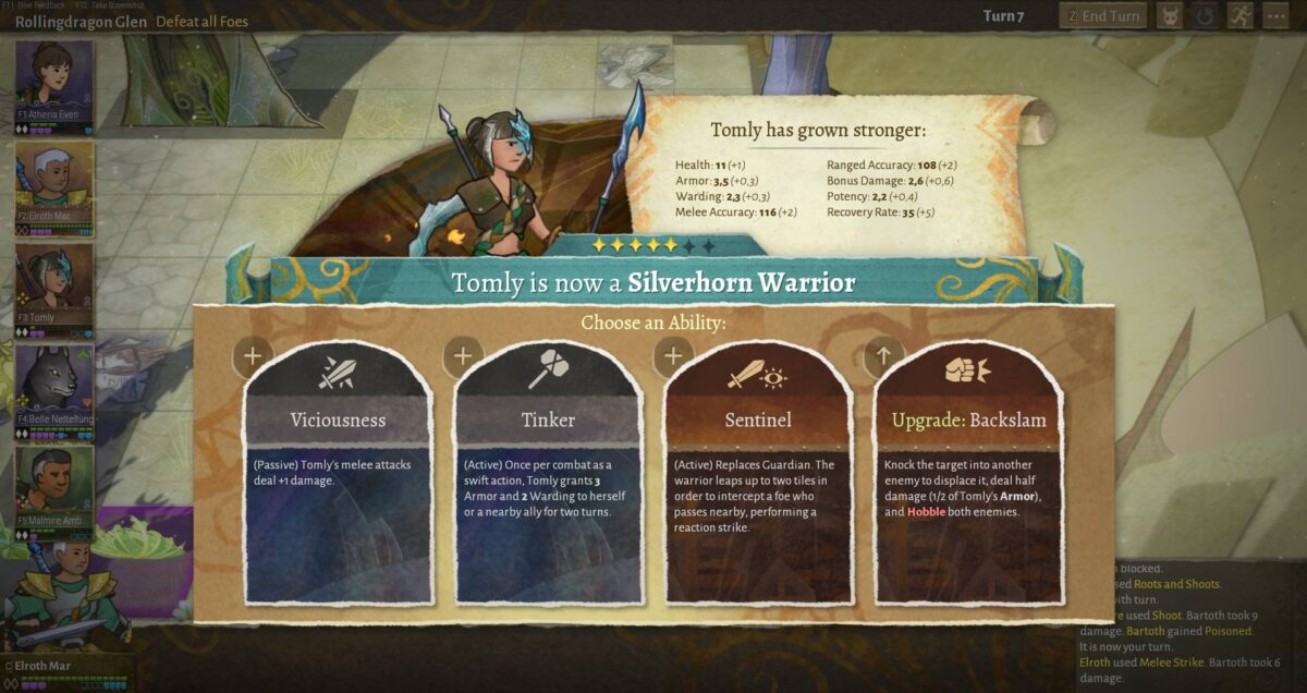 Wildermyth Test Review Heldenaufstiegs-Menü mit vier verschiedenen möglichen Fähigkeiten