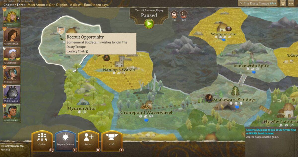 Wildermyth Review Test In Regionen unterteilte Landkarte mit reisender Gruppe