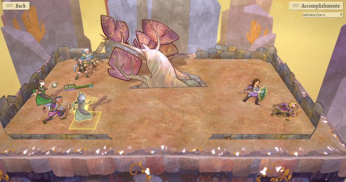 Wildermyth Review Test Mehrere Heldenfiguren auf einem Areal ausgestellt