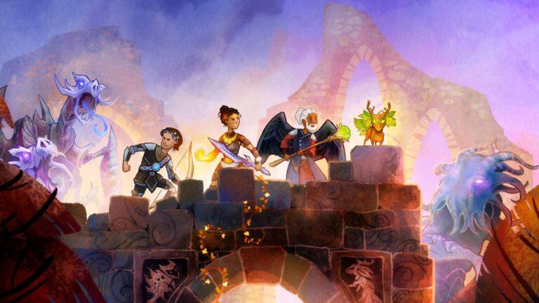 Wildermyth Test Review Fantasy-Heldengruppe steht auf Brücke mit Feinden links und rechts